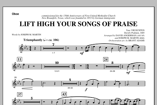 Lift High Your Songs Of Praise (from Footprints In The Sand) - Oboe Sheet Music
