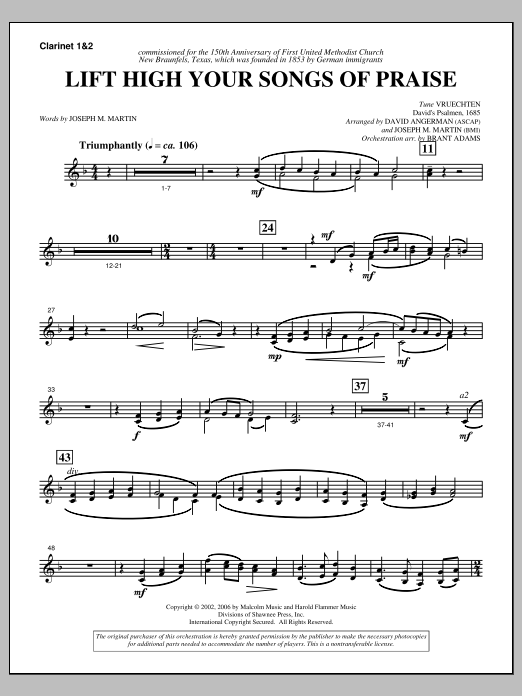 Lift High Your Songs Of Praise (from Footprints In The Sand) - Bb Clarinet 1,2 Sheet Music