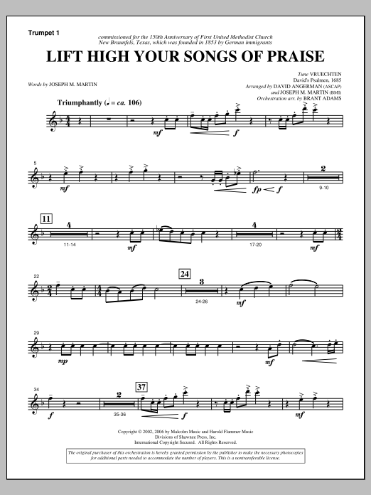 Lift High Your Songs Of Praise (from Footprints In The Sand) - Trumpet 1 Sheet Music