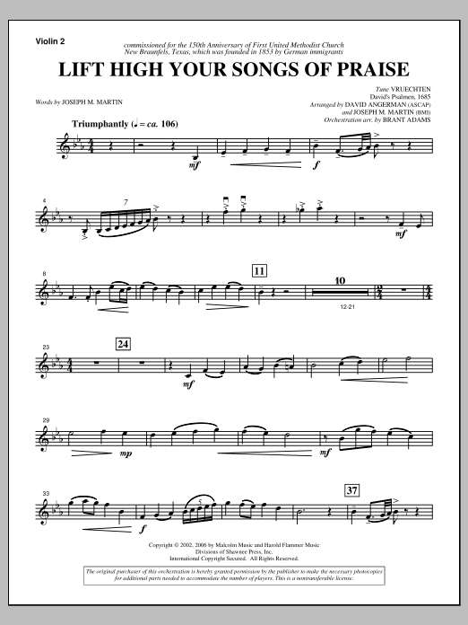 Lift High Your Songs Of Praise (from Footprints In The Sand) - Violin 2 Sheet Music