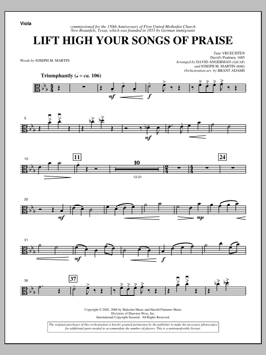 Lift High Your Songs Of Praise (from Footprints In The Sand) - Viola Sheet Music