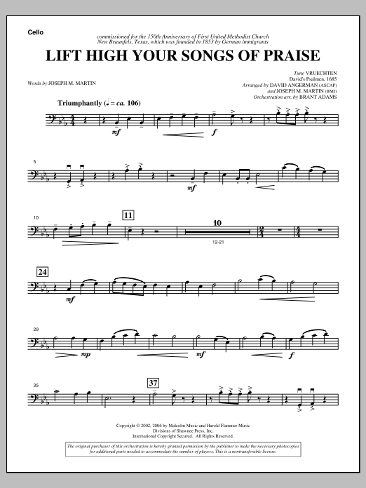 Lift High Your Songs Of Praise (from Footprints In The Sand) - Cello Sheet Music