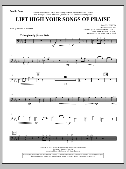 Lift High Your Songs Of Praise (from Footprints In The Sand) - Double Bass Sheet Music