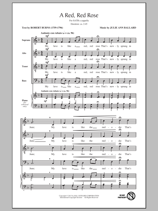 Partition chorale A Red, Red Rose de Julie Ann Ballard - SATB