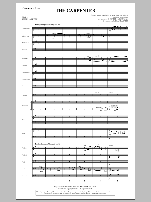 The Carpenter (from Canticle Of The Cross) (COMPLETE) sheet music for orchestra/band by Joseph M. Martin. Score Image Preview.
