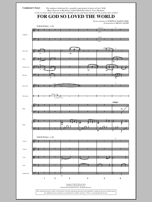 For God So Loved the World (COMPLETE) sheet music for orchestra/band by Joseph M. Martin. Score Image Preview.