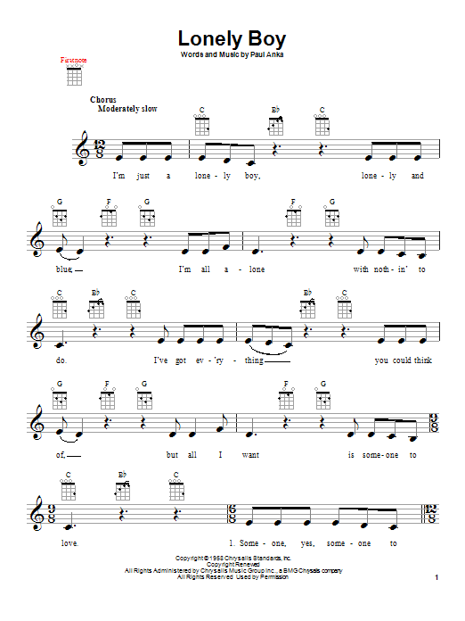 Lonely Boy Sheet Music