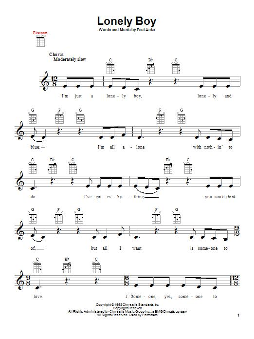Tablature guitare Lonely Boy de Paul Anka - Ukulele