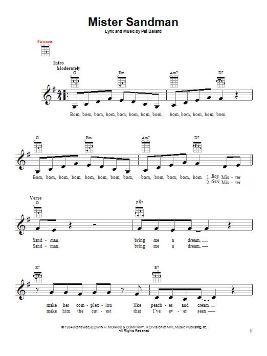 Tablature guitare Mister Sandman de The Chordettes - Ukulele