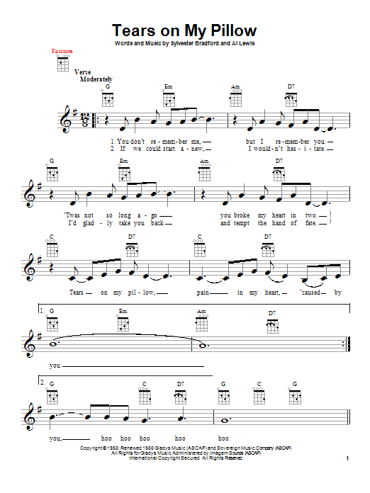 Tablature guitare Tears On My Pillow de Little Anthony & The Imperials - Ukulele