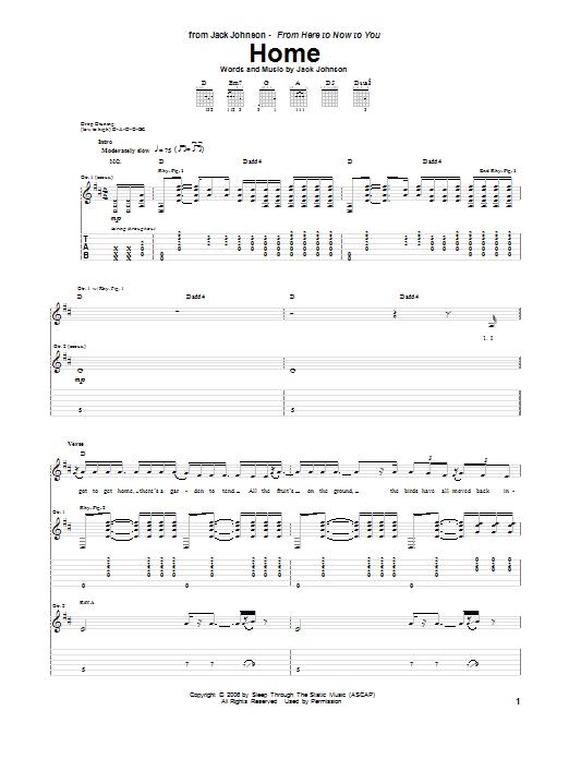 Tablature guitare Home de Jack Johnson - Tablature Guitare