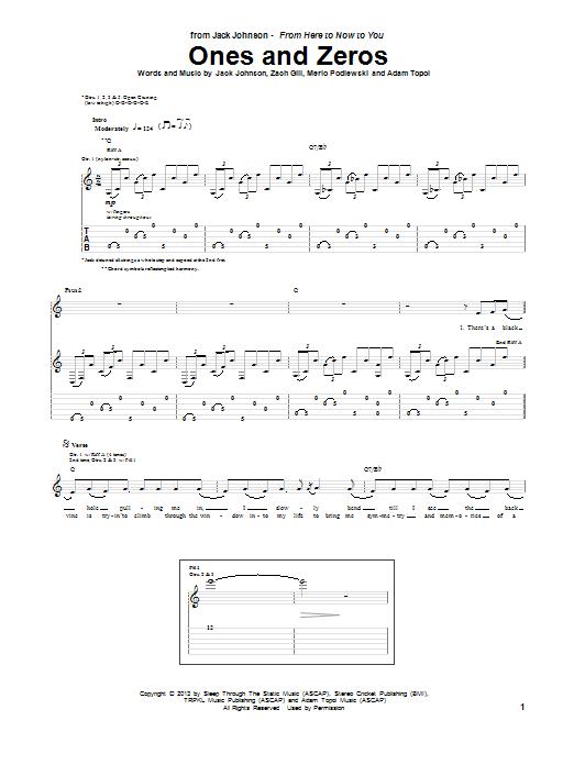 Tablature guitare Ones And Zeros de Jack Johnson - Tablature Guitare