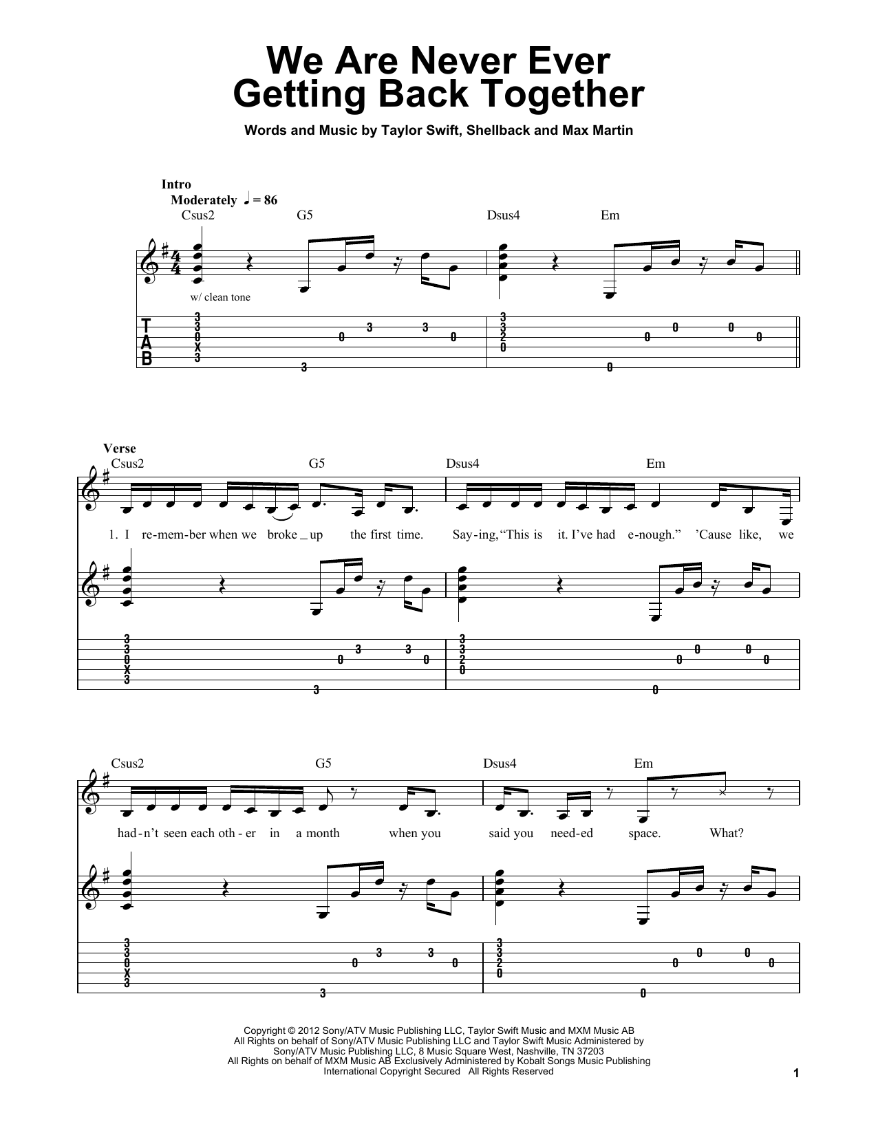 Tablature guitare We Are Never Ever Getting Back Together de Taylor Swift - Tablature guitare facile