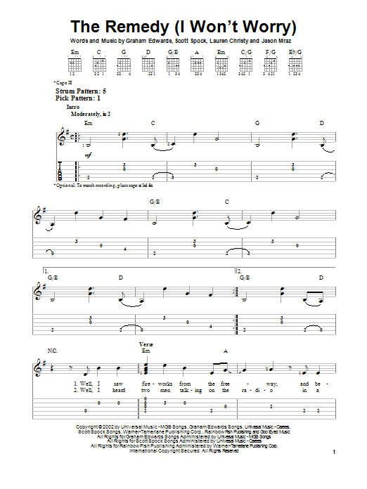 The Remedy (I Won't Worry) Sheet Music