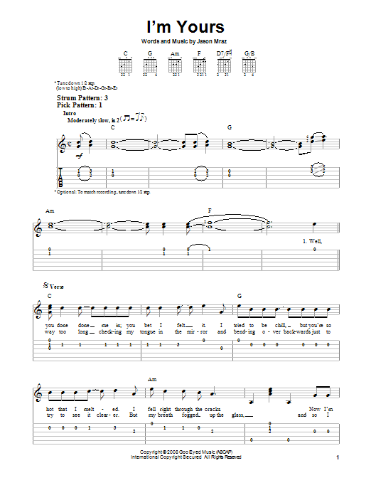 I\'m Yours by Jason Mraz - Easy Guitar Tab - Guitar Instructor