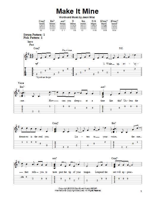Make It Mine (Easy Guitar Tab)