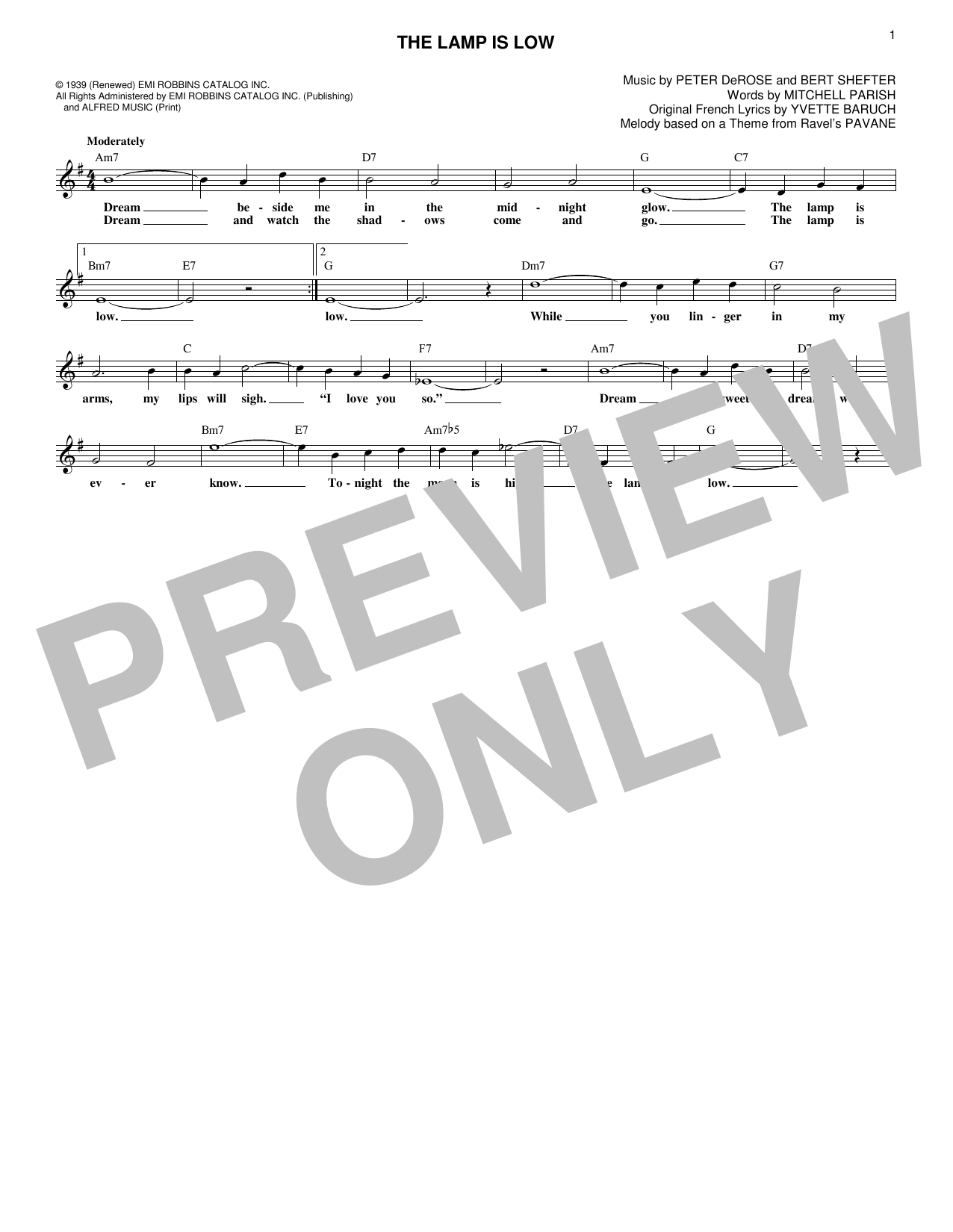 The Lamp Is Low (Lead Sheet / Fake Book)