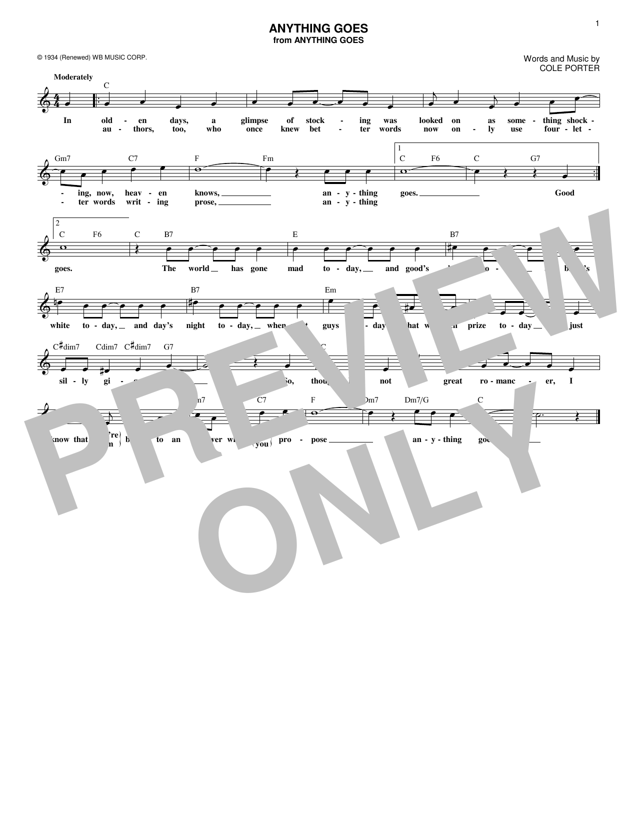 Anything Goes (Lead Sheet / Fake Book)