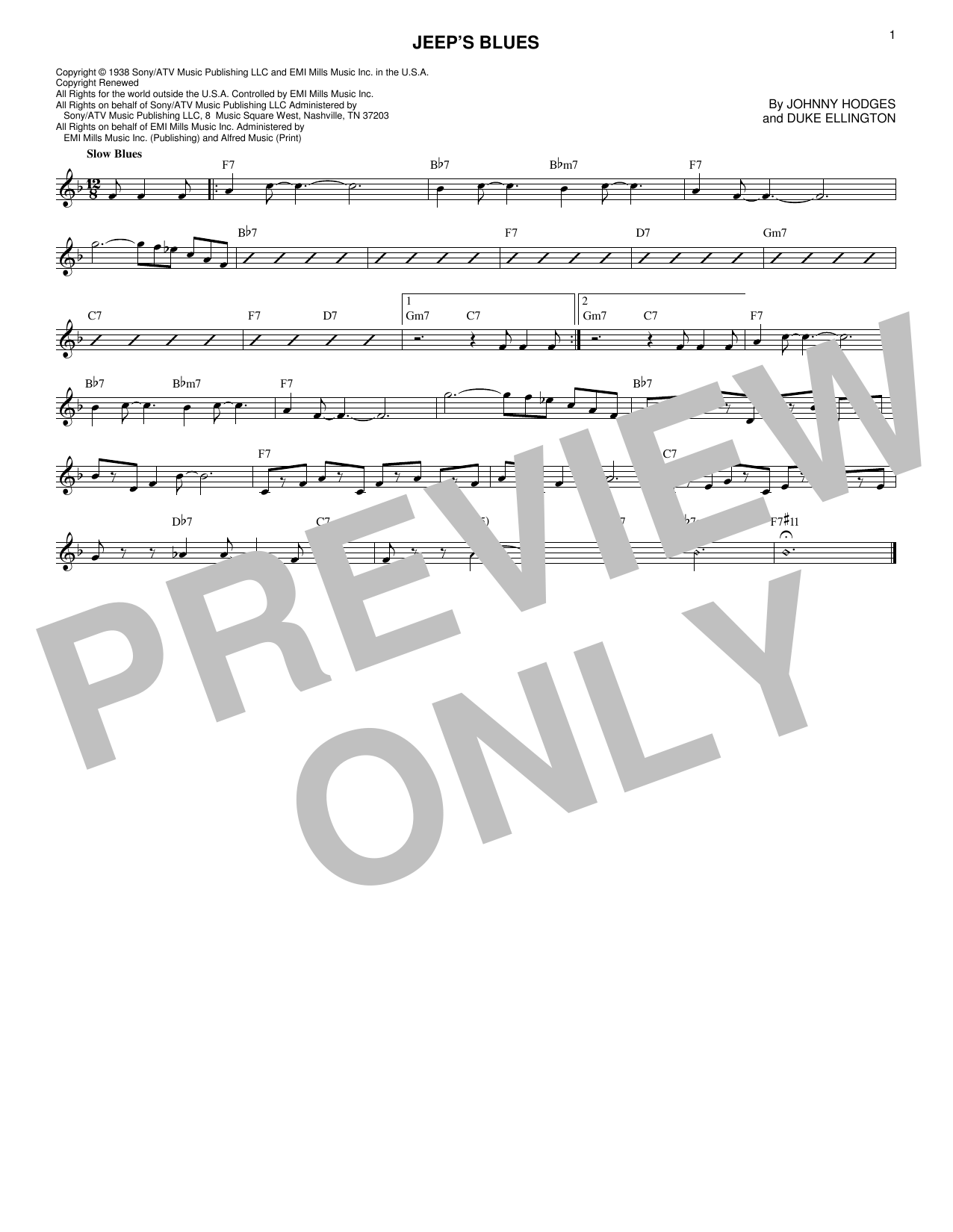 Jeep's Blues (Lead Sheet / Fake Book)