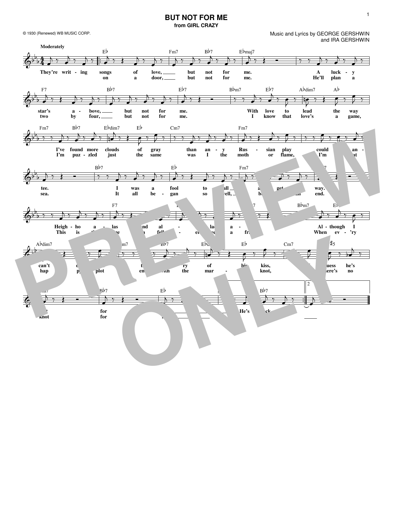 But Not For Me (Lead Sheet / Fake Book)