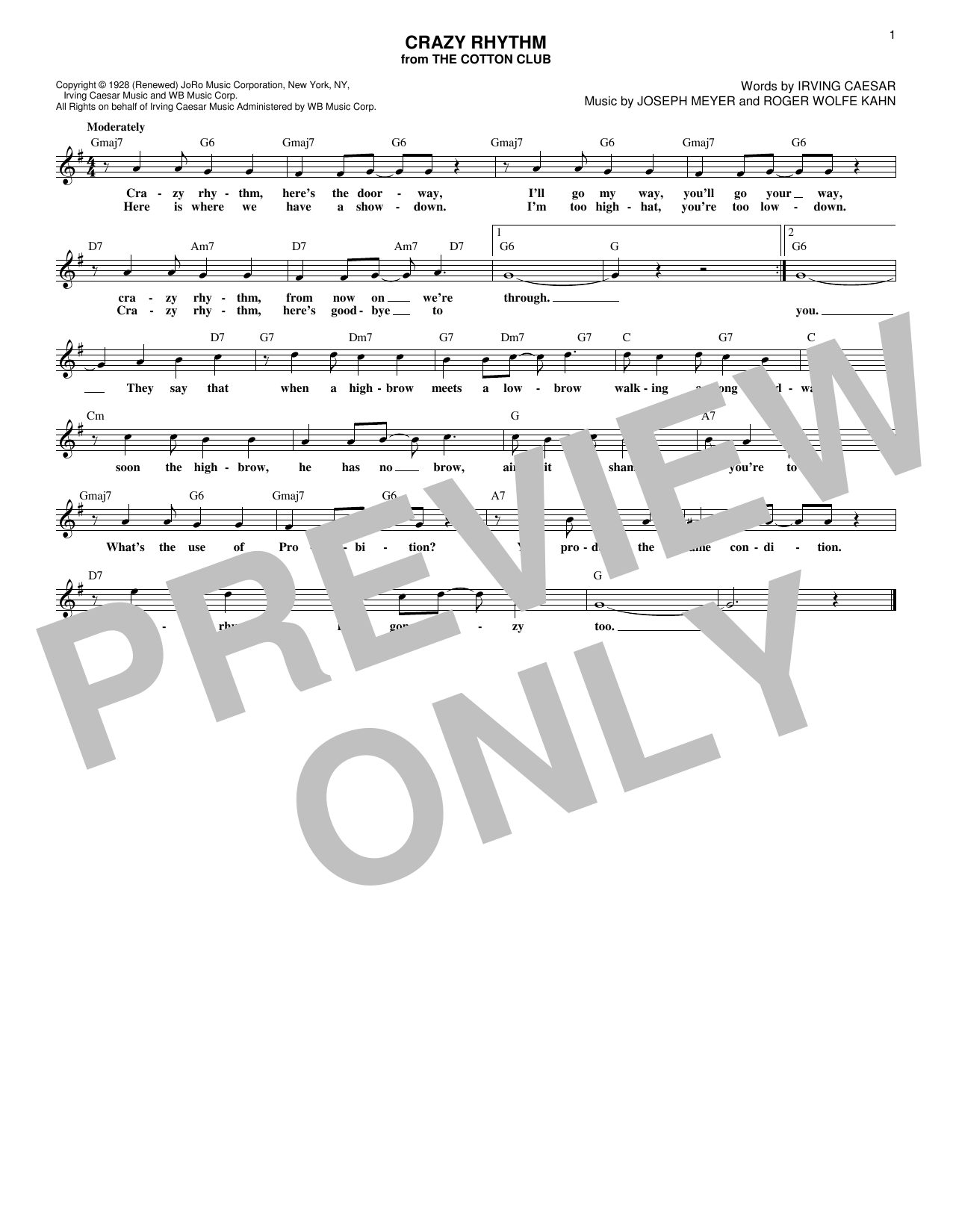 Crazy Rhythm (Lead Sheet / Fake Book)