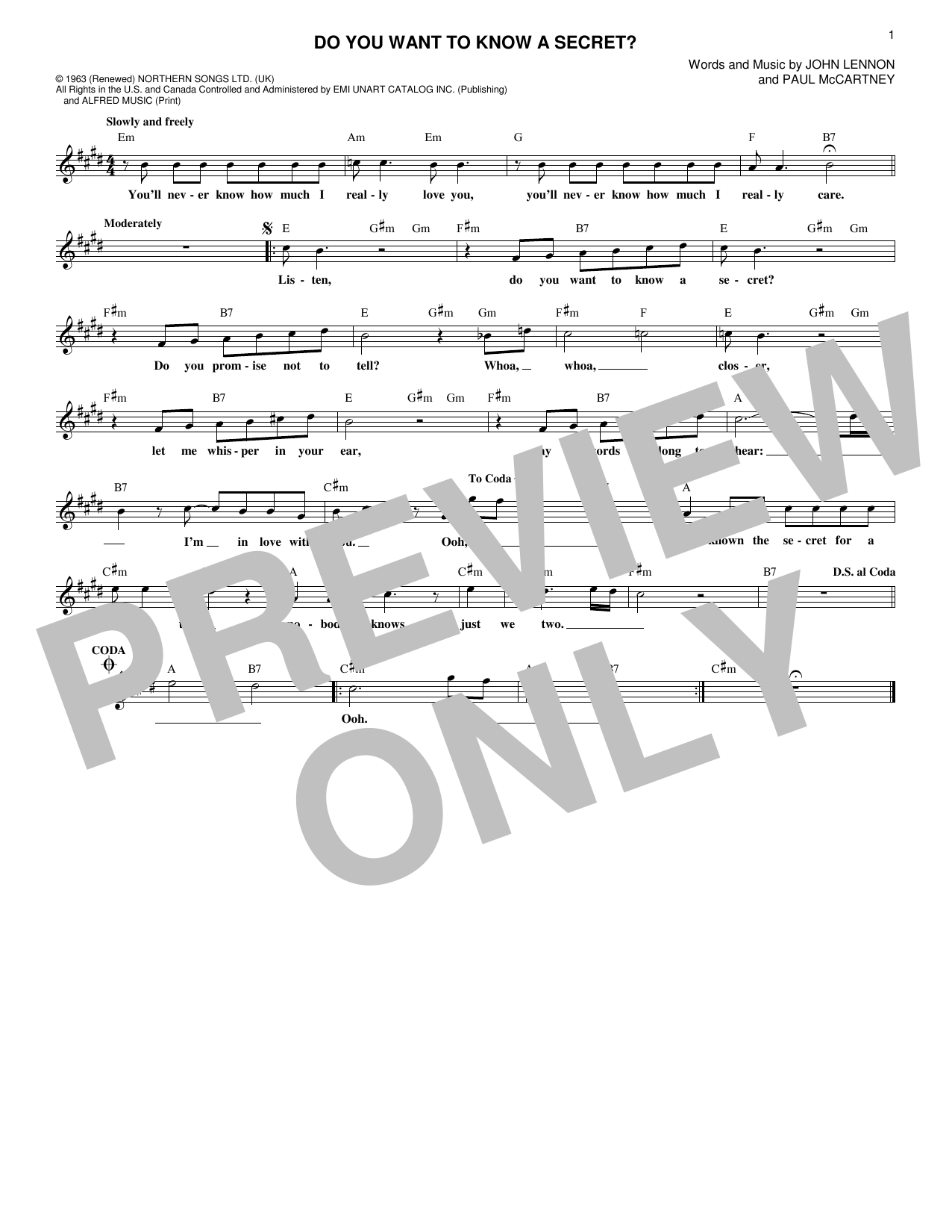 Do You Want To Know A Secret? (Lead Sheet / Fake Book)