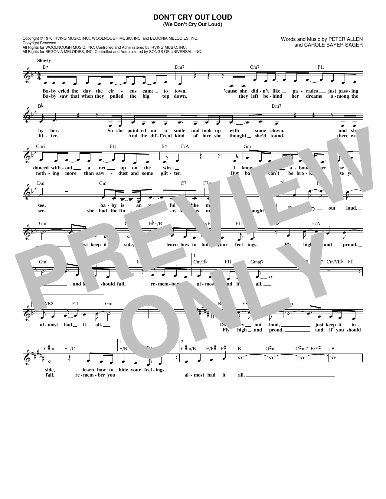 Don't Cry Out Loud (We Don't Cry Out Loud) (Lead Sheet / Fake Book)