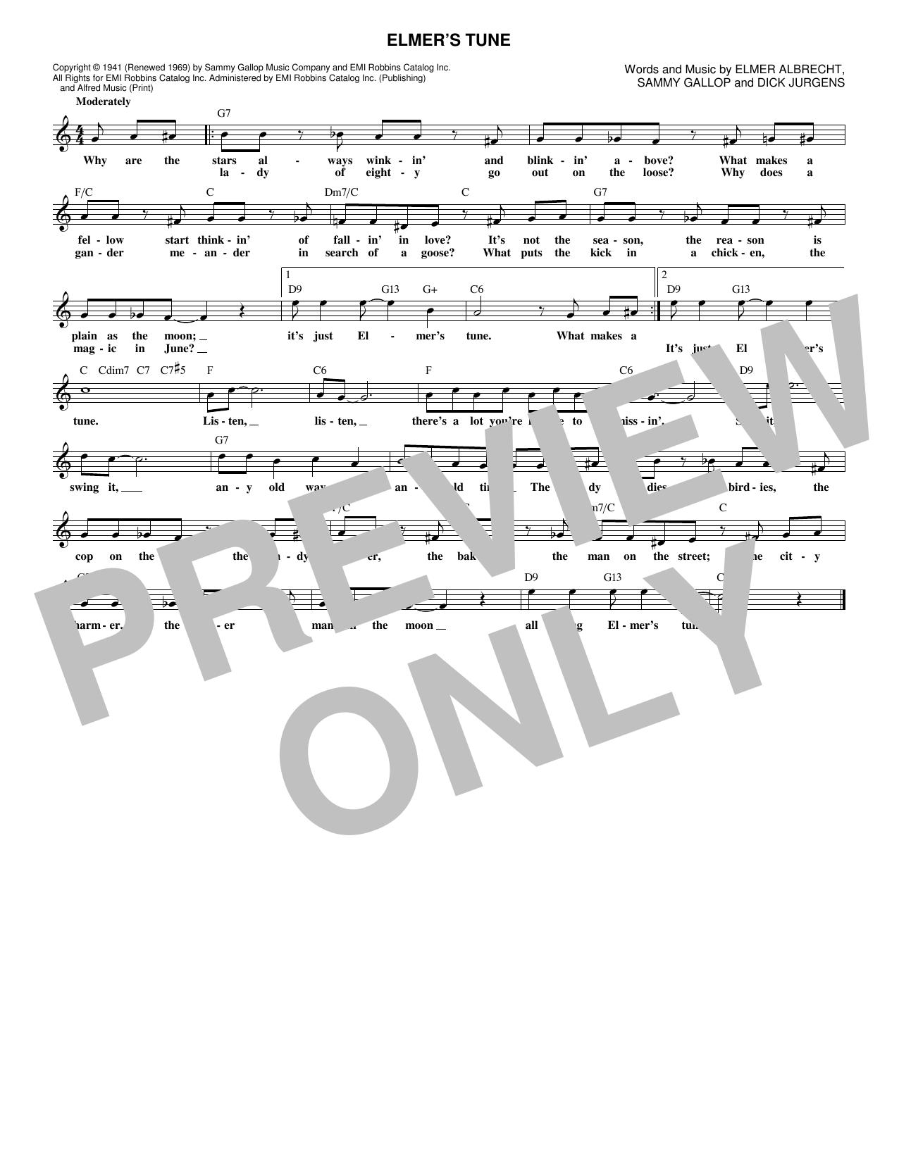 Elmer's Tune (Lead Sheet / Fake Book)