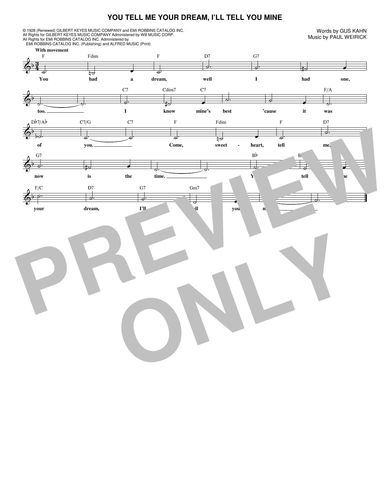 You Tell Me Your Dream, I'll Tell You Mine (Lead Sheet / Fake Book)