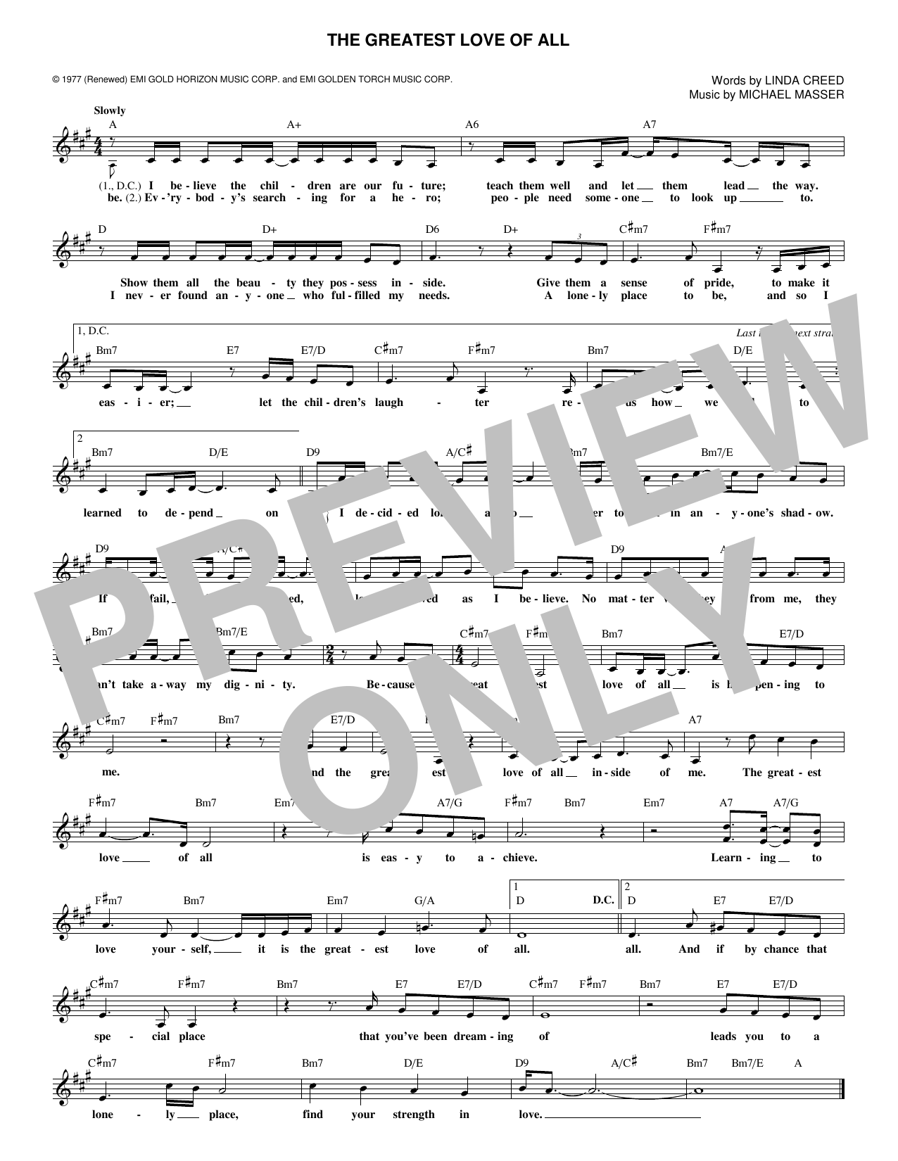 The Greatest Love Of All (Lead Sheet / Fake Book)