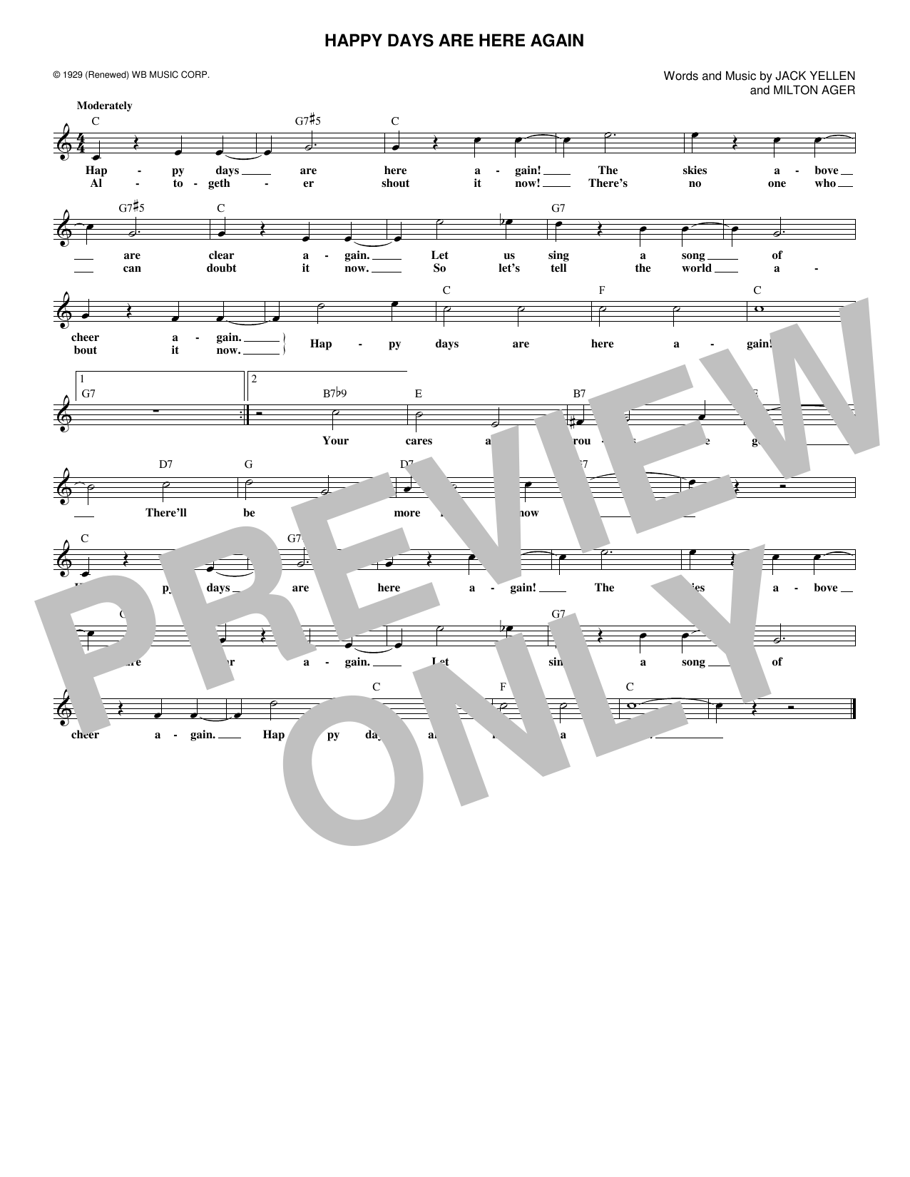 Happy Days Are Here Again (Lead Sheet / Fake Book)