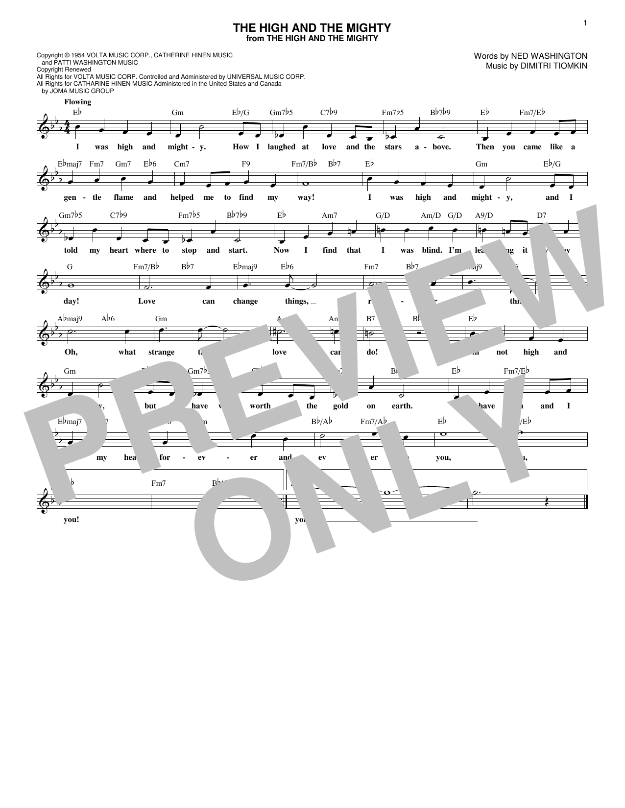 The High And The Mighty (Lead Sheet / Fake Book)
