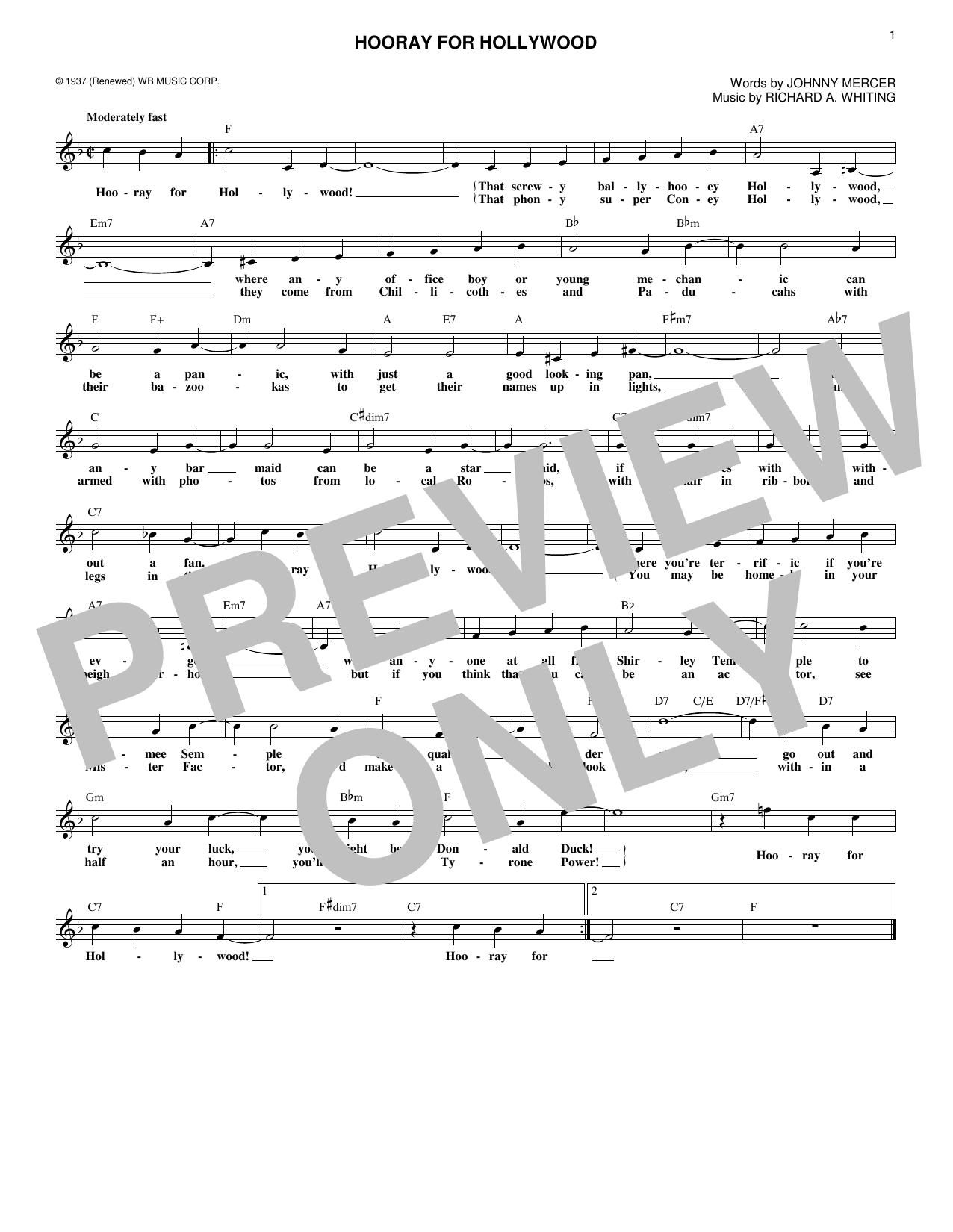 Hooray For Hollywood (Lead Sheet / Fake Book)