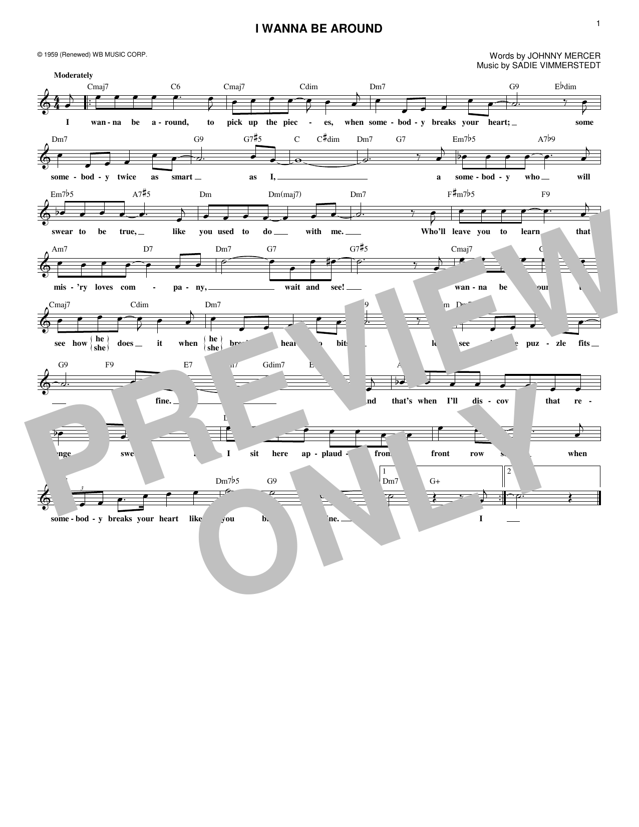 I Wanna Be Around (Lead Sheet / Fake Book)