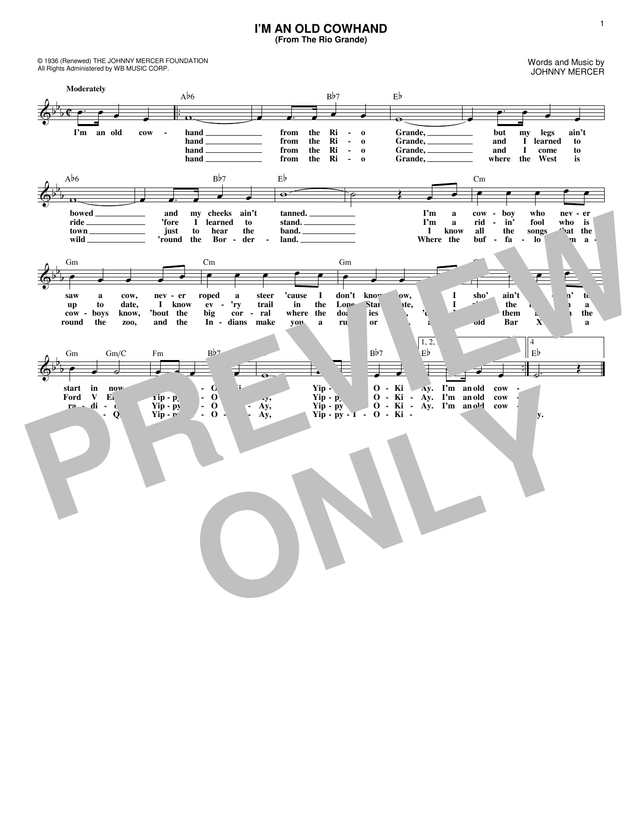 I'm An Old Cowhand (From The Rio Grande) (Lead Sheet / Fake Book)