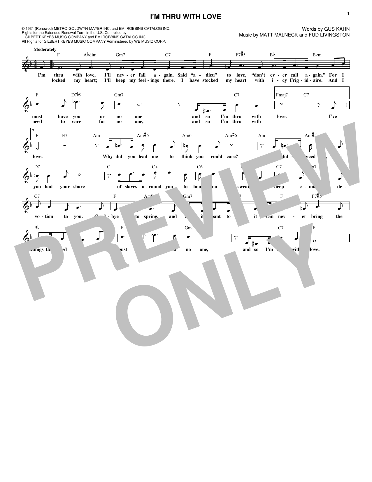 I'm Thru With Love (Lead Sheet / Fake Book)