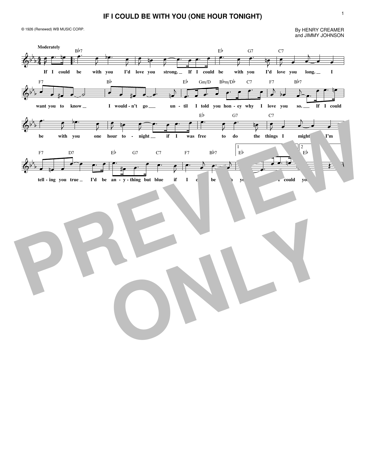 If I Could Be With You (One Hour Tonight) (Lead Sheet / Fake Book)