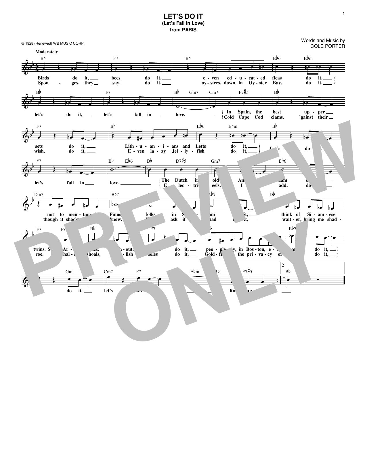 Let's Do It (Let's Fall In Love) (Lead Sheet / Fake Book)