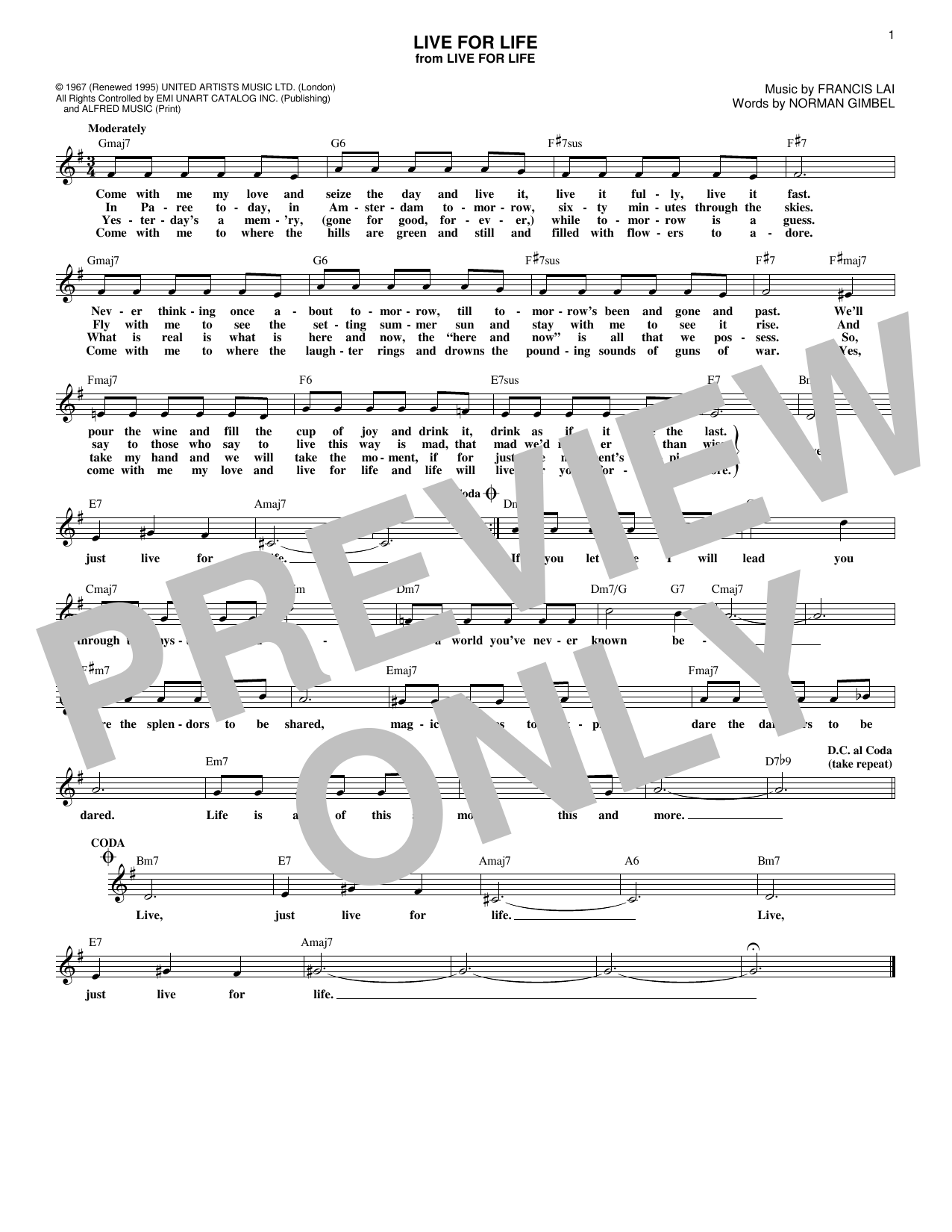 Live For Life (Lead Sheet / Fake Book)