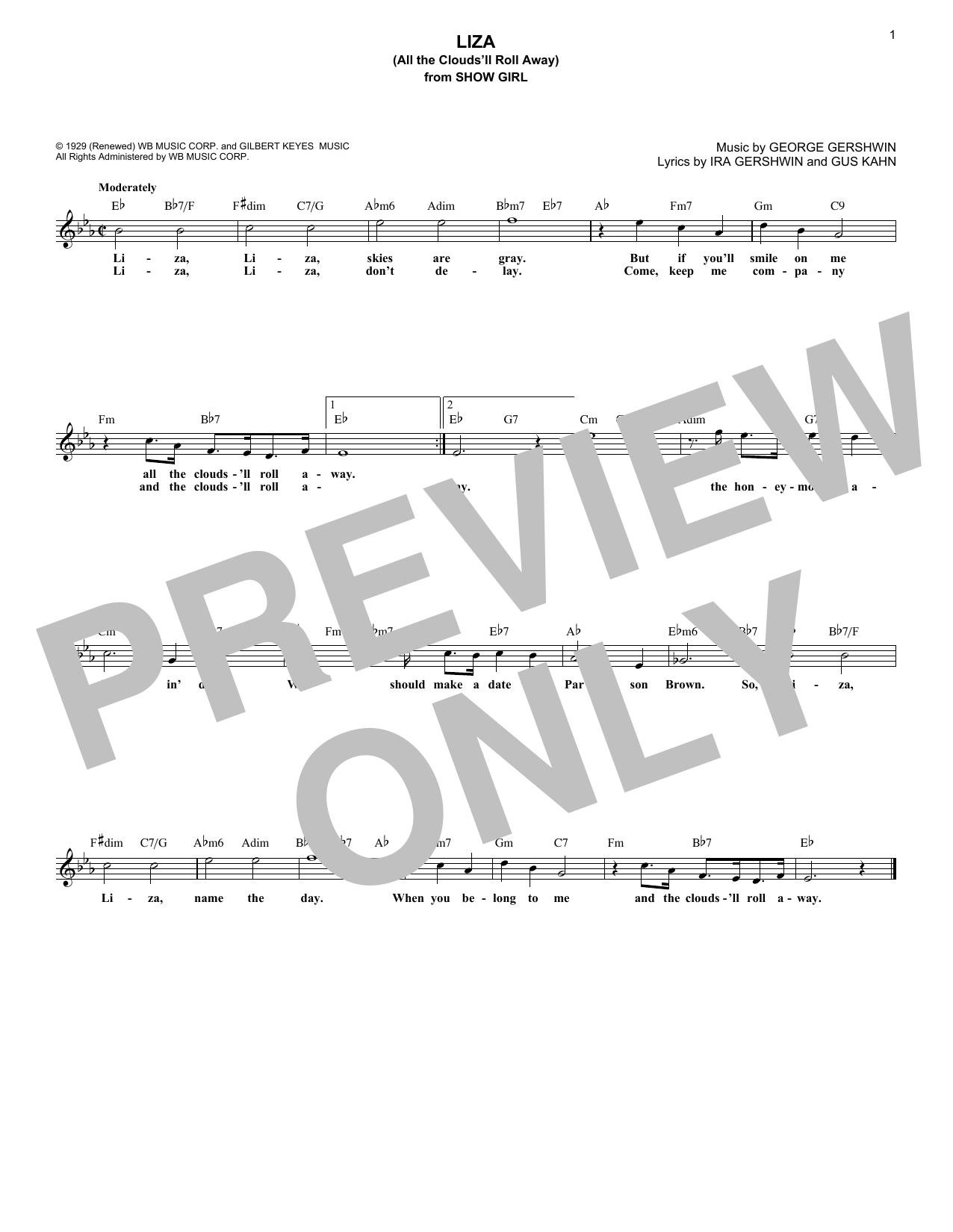 Liza (All The Clouds'll Roll Away) (Lead Sheet / Fake Book)