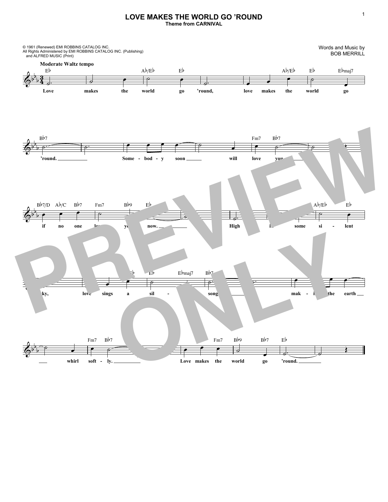 Love Makes The World Go 'round (Lead Sheet / Fake Book)