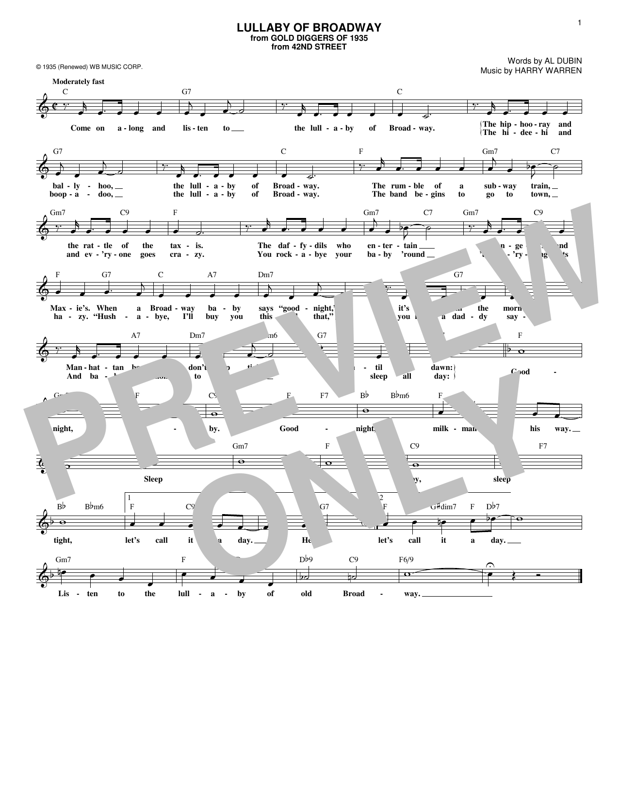 Lullaby Of Broadway (Lead Sheet / Fake Book)