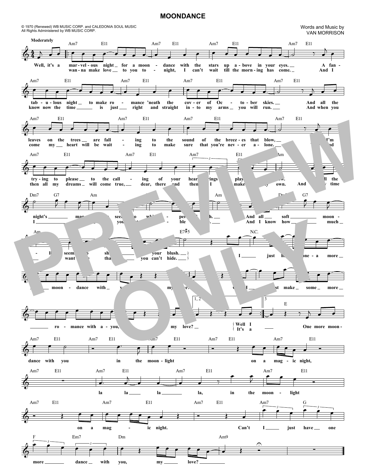 Moondance (Lead Sheet / Fake Book)