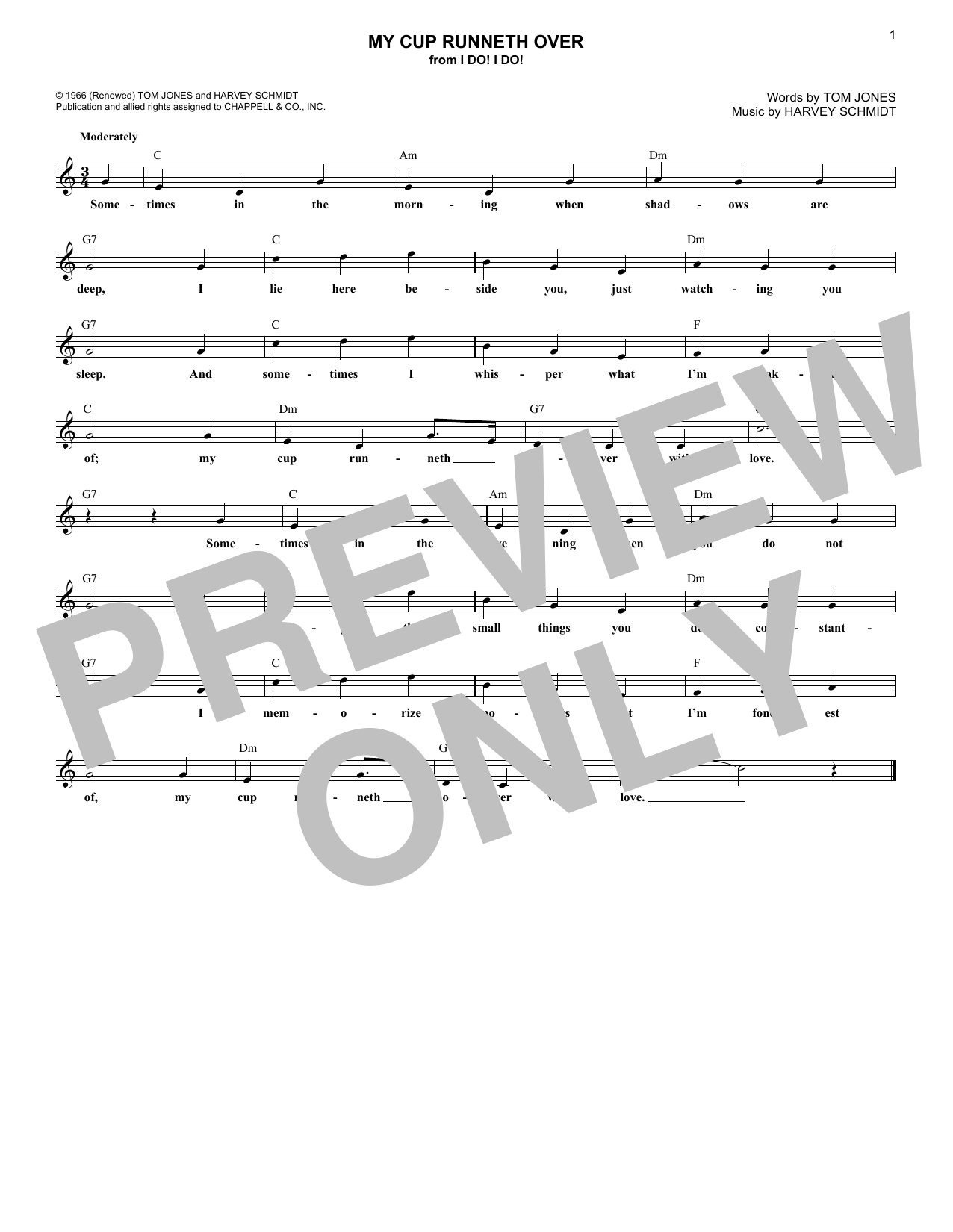 My Cup Runneth Over (Lead Sheet / Fake Book)