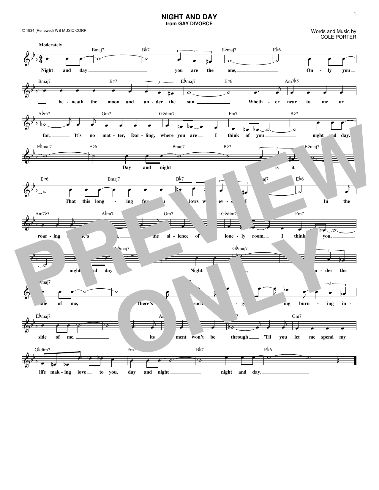 Night And Day (Lead Sheet / Fake Book)