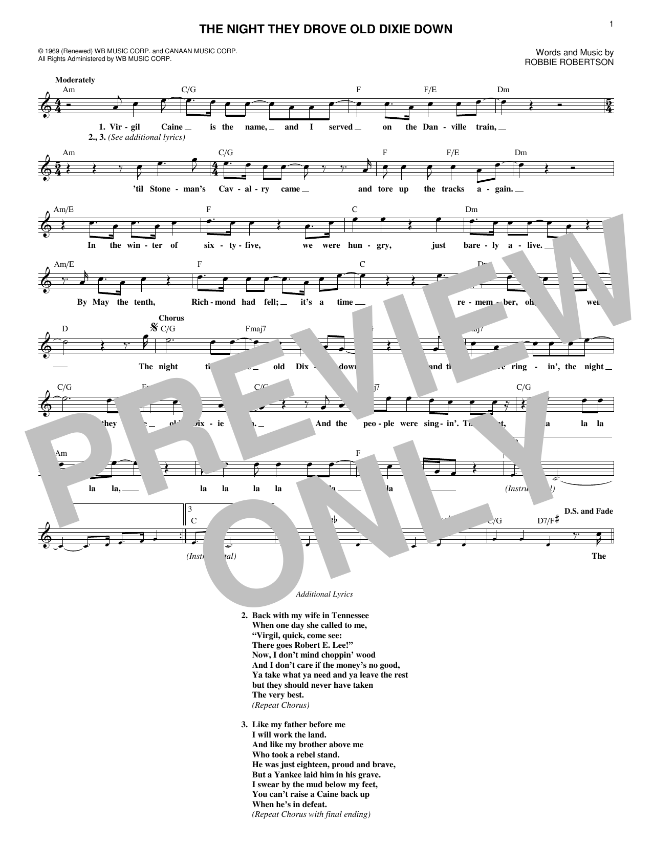The Night They Drove Old Dixie Down (Lead Sheet / Fake Book)