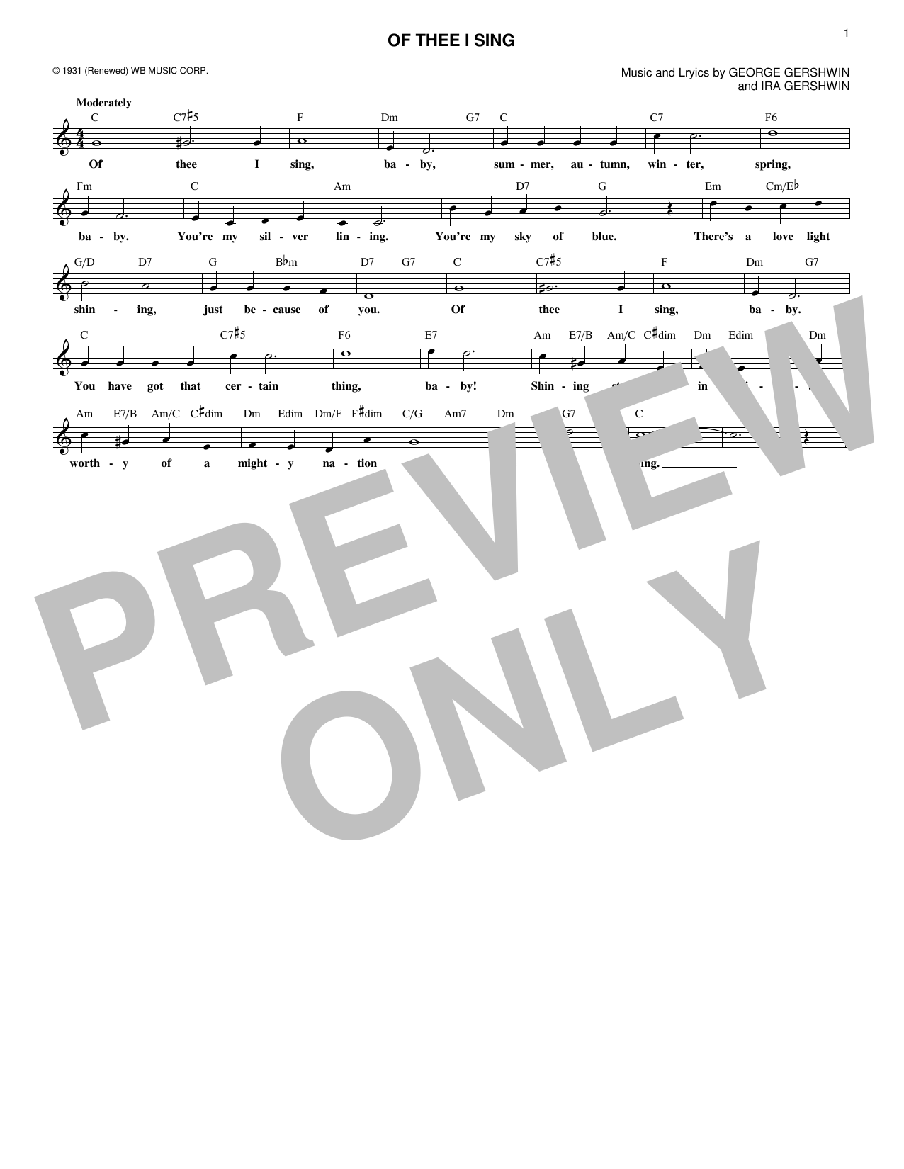 Of Thee I Sing (Lead Sheet / Fake Book)