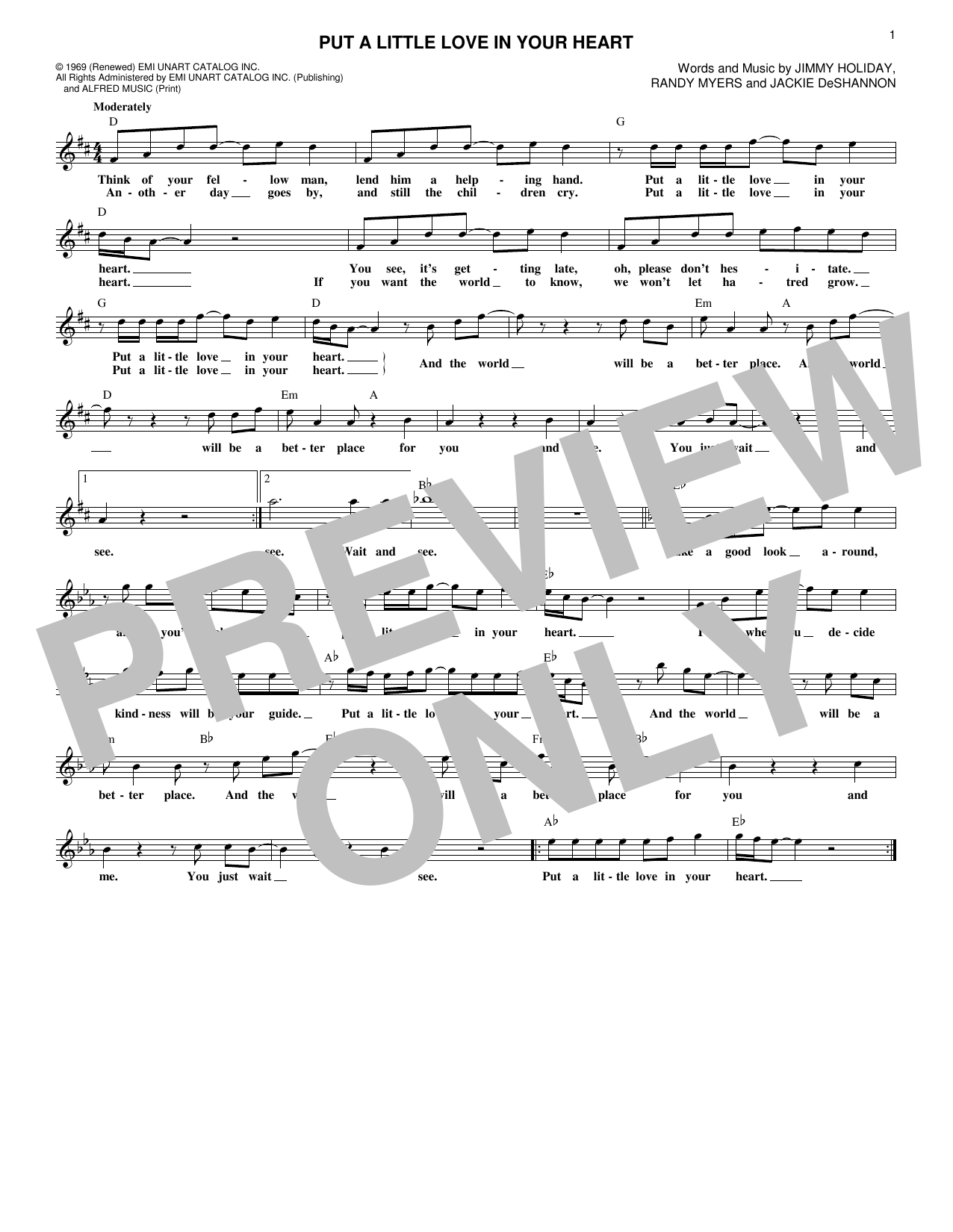 Put A Little Love In Your Heart (Lead Sheet / Fake Book)