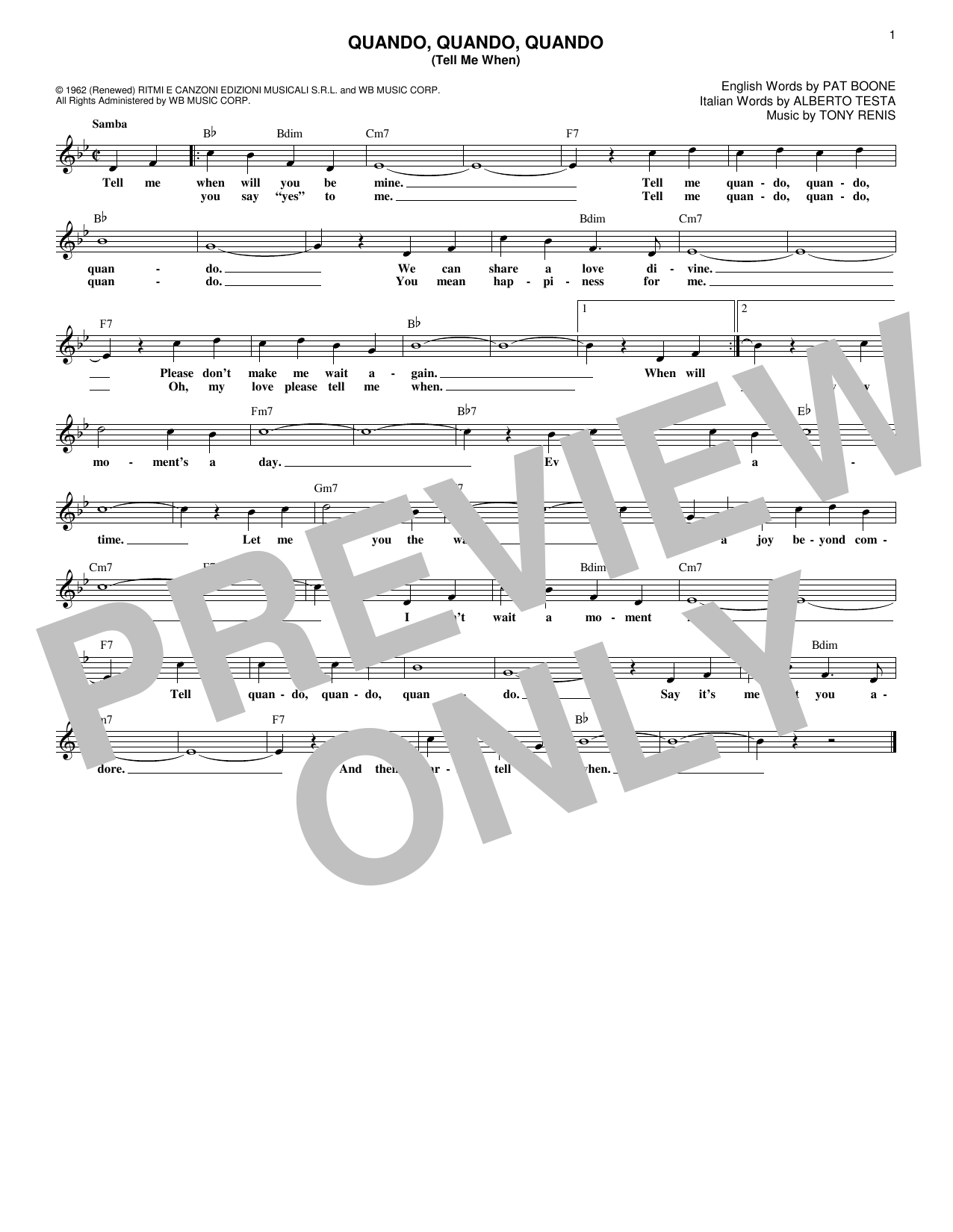 Quando, Quando, Quando (Tell Me When) (Lead Sheet / Fake Book)