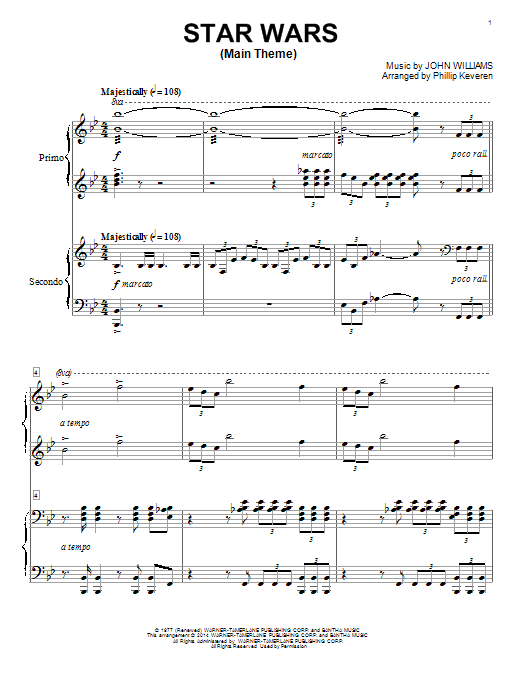 Partition piano Star Wars (Main Theme) de Phillip Keveren - 4 mains